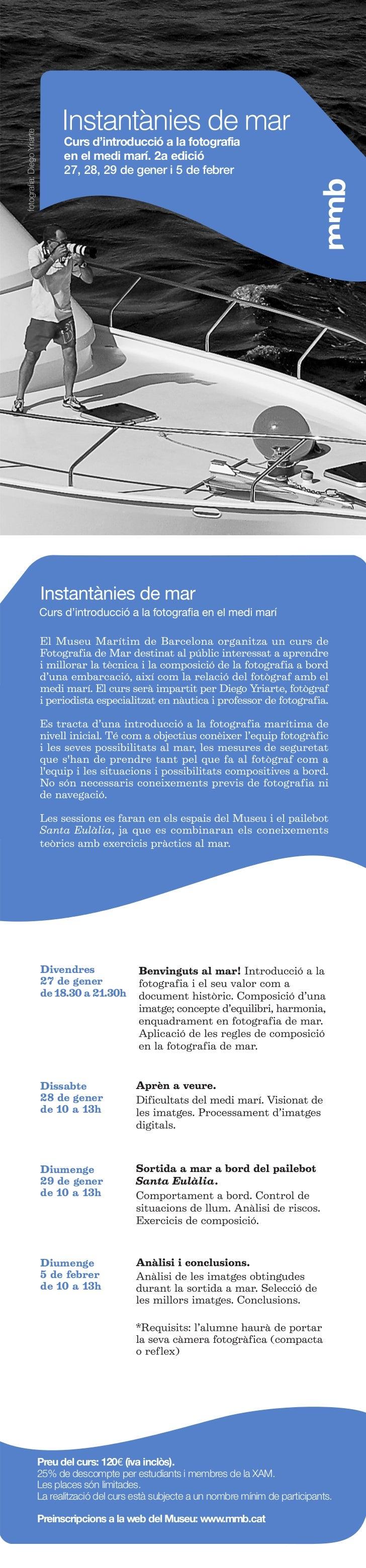 Curs d'introducció a la fotografia      en el medi marí. 2a edició      27, 28, 29 de gener i 5 de febrerDivendres27 de ge...