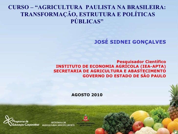 """CURSO – """"AGRICULTURA  PAULISTA NA BRASILEIRA:  TRANSFORMAÇÃO, ESTRUTURA E POLÍTICAS PÚBLICAS"""" JOSÉ SIDNEI GONÇALVES Pesqui..."""