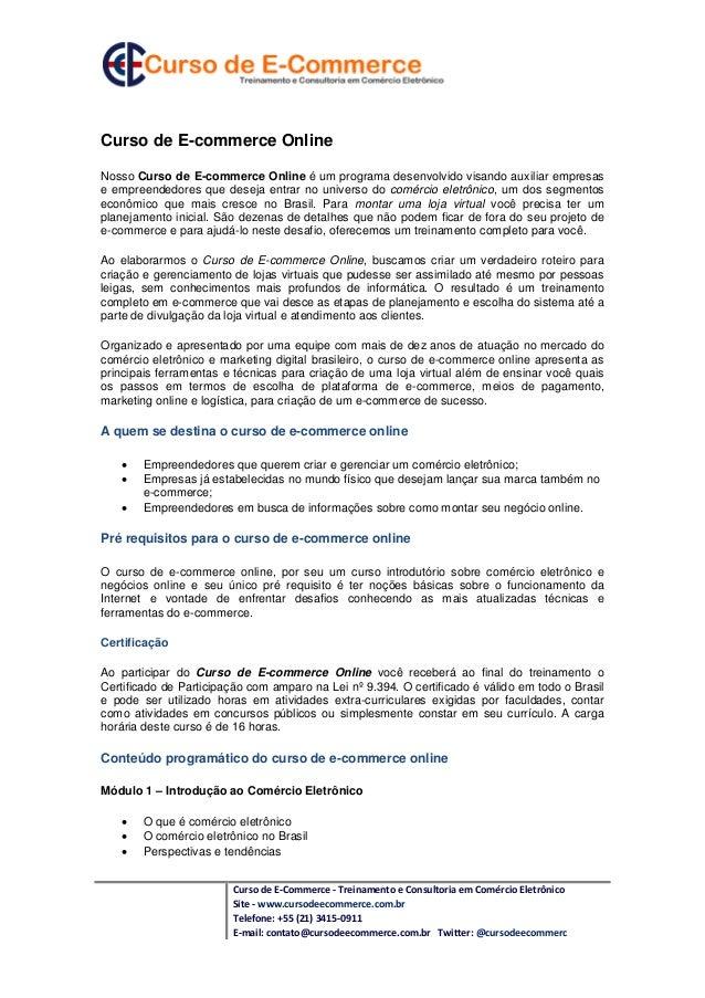 Curso de Ecommerce Online
