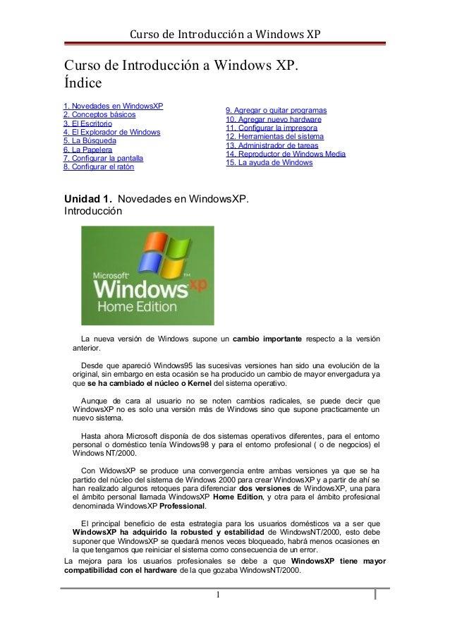 Introducción a Windows Xp