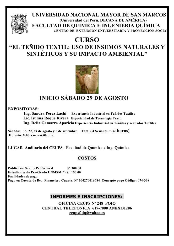 CURSO: EL TEÑIDO TEXTIL USO DE INSUMOS NATURALES Y SINTÉTICOS Y SU IMPACTO AMBIENTAL