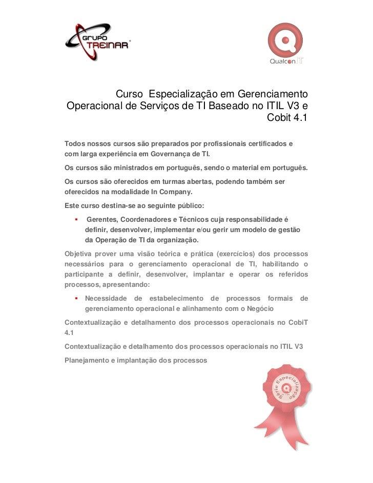 Curso Especialização em GerenciamentoOperacional de Serviços de TI Baseado no ITIL V3 e                                   ...