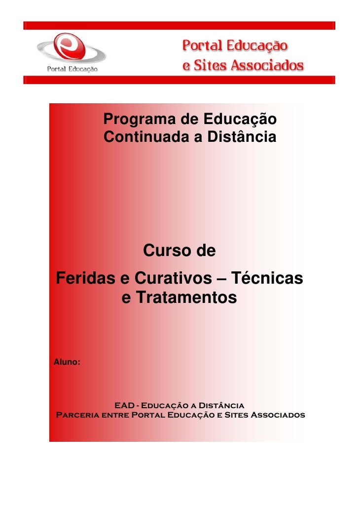 1             Programa de Educação             Continuada a Distância                     Curso de    Feridas e Curativos ...