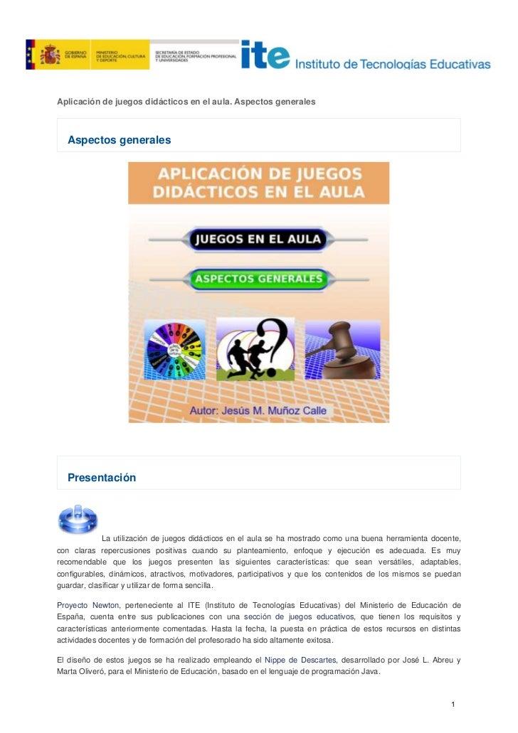 Curso juegos - Aplicación de juegos didácticos en el aula
