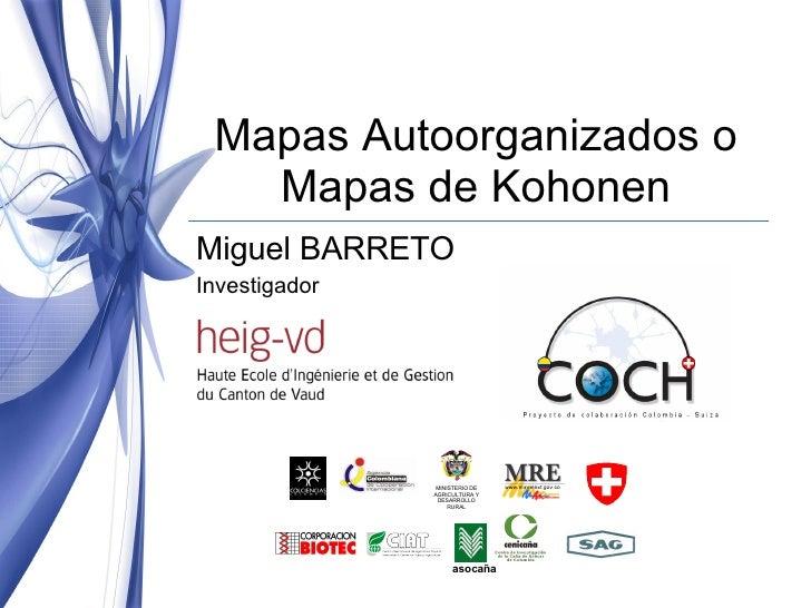 Mapas Autoorganizados o Mapas de Kohonen Miguel BARRETO Investigador  MINISTERIO DE AGRICULTURA Y DESARROLLO RURAL asocaña