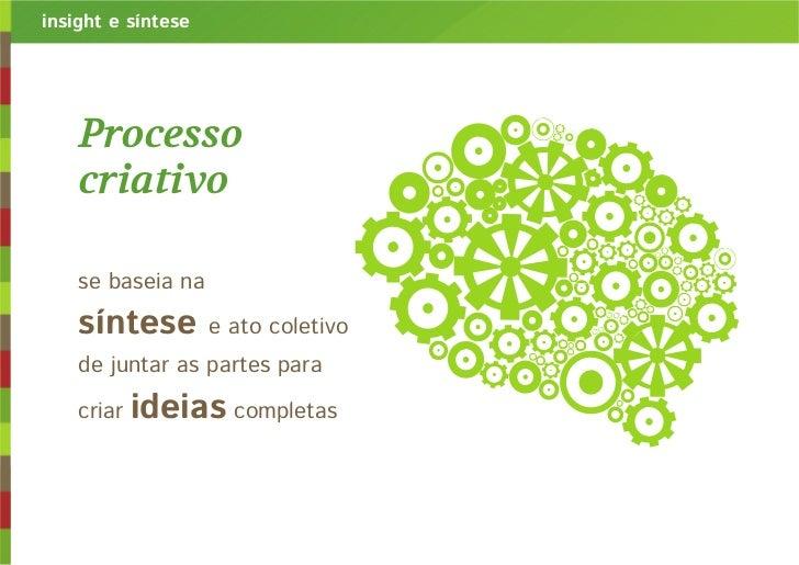 insight e síntese    Processo    criativo    se baseia na    síntese         e ato coletivo    de juntar as partes para   ...