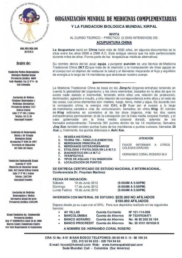 Y LA FUNDACION BIOLOGICA MUNDIAL KIRPAL                                       INVITA                 AL CURSO TEORICO – PR...