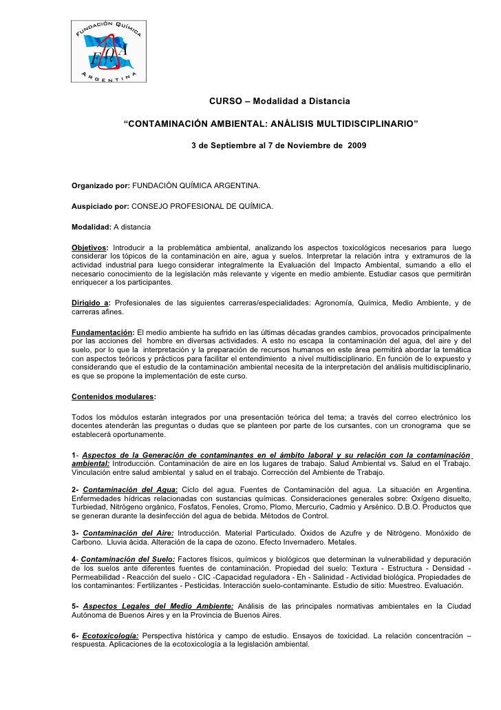 """CURSO – Modalidad a Distancia                 """"CONTAMINACIÓN AMBIENTAL: ANÁLISIS MULTIDISCIPLINARIO""""                      ..."""