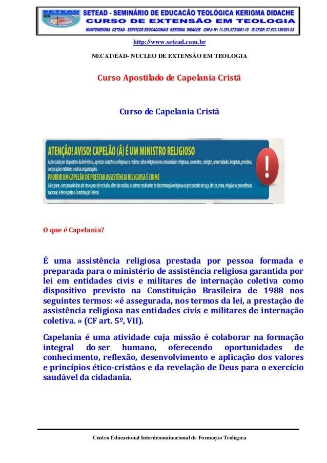 http://www.setead.com.br  NECAT/EAD- NUCLEO DE EXTENSÃO EM TEOLOGIA  Centro Educacional Interdenominacional de Formação Te...