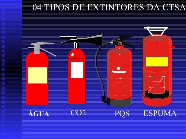 04 TIPOS DE EXTINTORES DA CTSA PQS ESPUMA CO2 ÁGUA