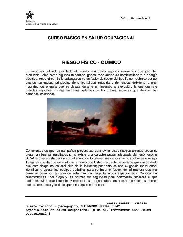 Salud Ocupacional Antioquia Centro de Servicios a la Salud Riesgo Físico – Químico Diseño técnico – pedagógico, WILFREDO U...