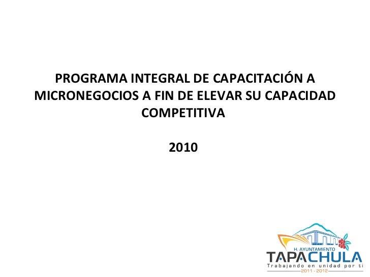 PROGRAMA INTEGRAL DE CAPACITACIÓN A MICRONEGOCIOS A FIN DE ELEVAR SU CAPACIDAD COMPETITIVA  2010