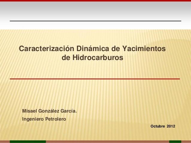 Caracterización Dinámica de Yacimientos            de HidrocarburosMisael González García.Ingeniero Petrolero             ...