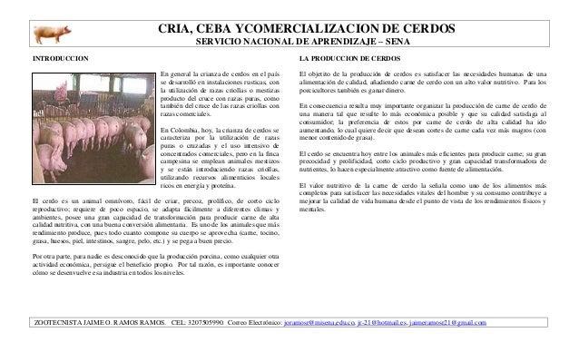 CRIA, CEBA YCOMERCIALIZACION DE CERDOS SERVICIO NACIONAL DE APRENDIZAJE – SENA ZOOTECNISTA JAIME O. RAMOS RAMOS. CEL: 3207...
