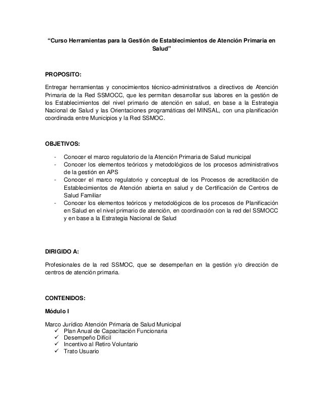 """""""Curso Herramientas para la Gestión de Establecimientos de Atención Primaria en Salud"""" PROPOSITO: Entregar herramientas y ..."""