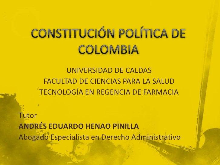 CONSTITUCIÓN POLÍTICA DE COLOMBIA<br />UNIVERSIDAD DE CALDAS<br />FACULTAD DE CIENCIAS PARA LA SALUD<br />TECNOLOGÍA EN RE...