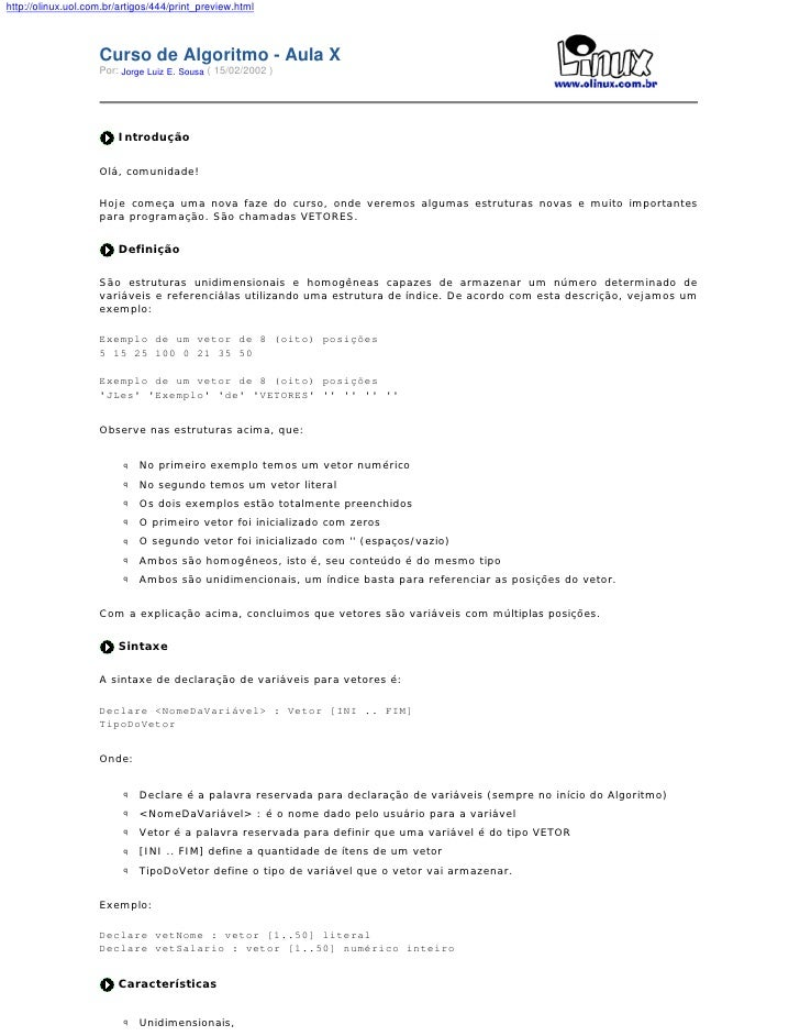 http://olinux.uol.com.br/artigos/444/print_preview.html                        Curso de Algoritmo - Aula X                ...