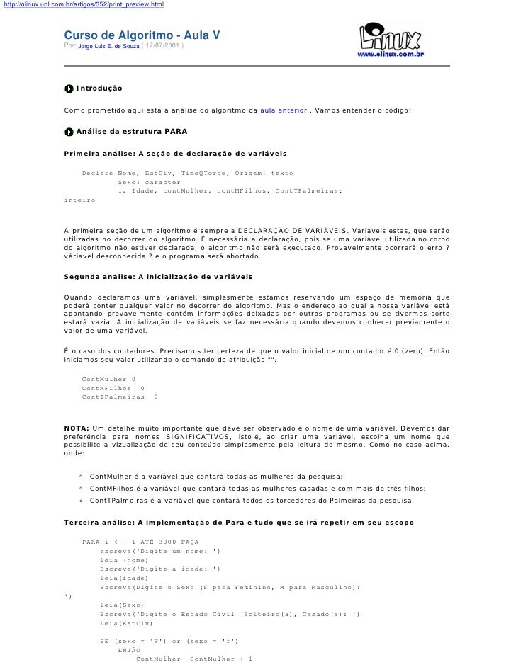 http://olinux.uol.com.br/artigos/352/print_preview.html                        Curso de Algoritmo - Aula V                ...