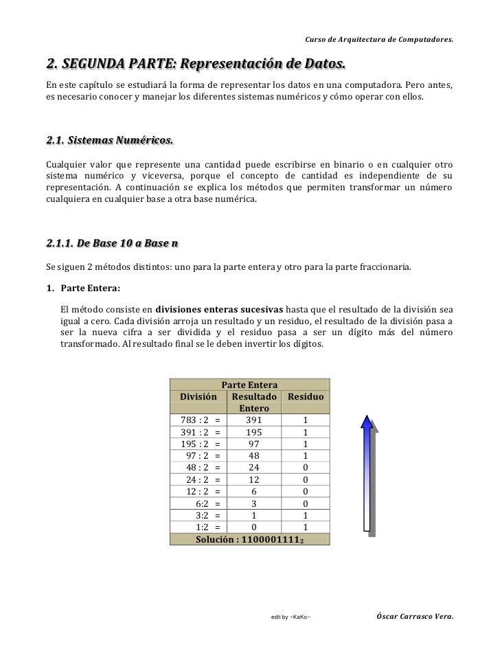 Curso de Arquitectura de Computadores.   2. SEGUNDA PARTE: Representación de Datos. En este capítulo se estudiará la forma...