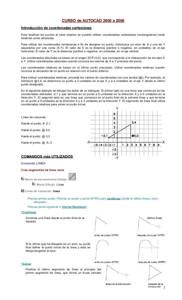 CURSO de AUTOCAD 2000 a 2006 Introducción de coordenadas cartesianas Para localizar los puntos al crear objetos se pueden ...