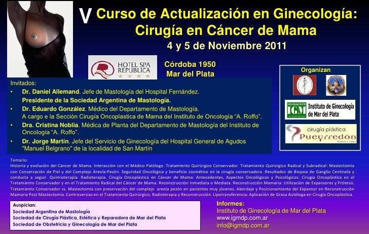 V Curso de Actualización en Ginecología:                                                              Cirugía en Cáncer de...