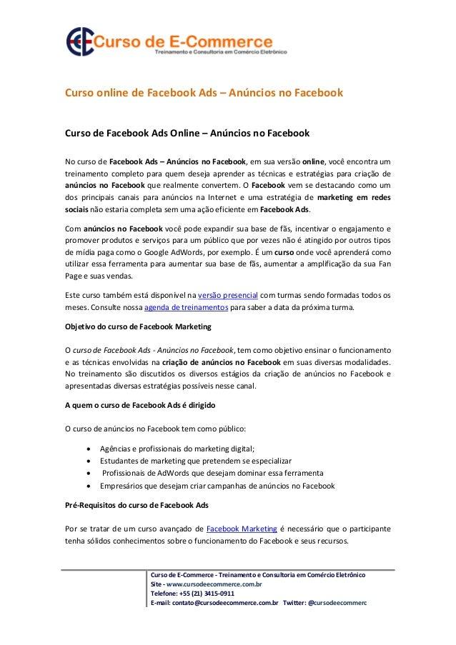 Curso online de Facebook Ads – Anúncios no FacebookCurso de Facebook Ads Online – Anúncios no FacebookNo curso de Facebook...