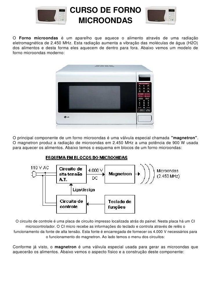 CURSO DE FORNO                                  MICROONDASO Forno microondas é um aparelho que aquece o alimento através d...