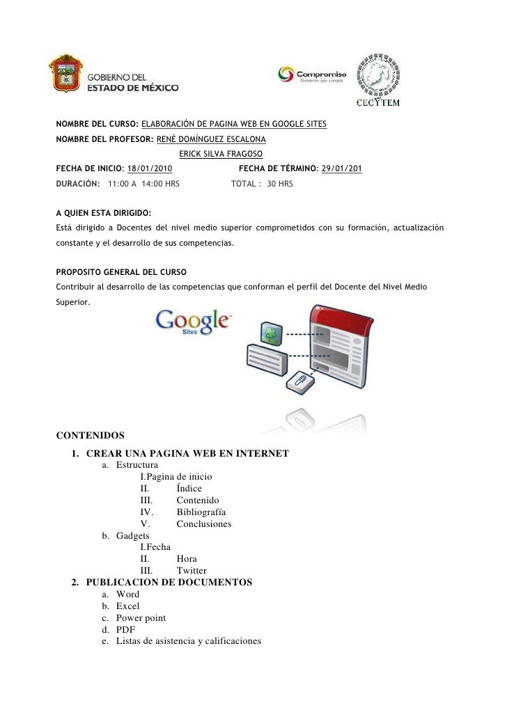 Curso De Google Sites Para Profesores