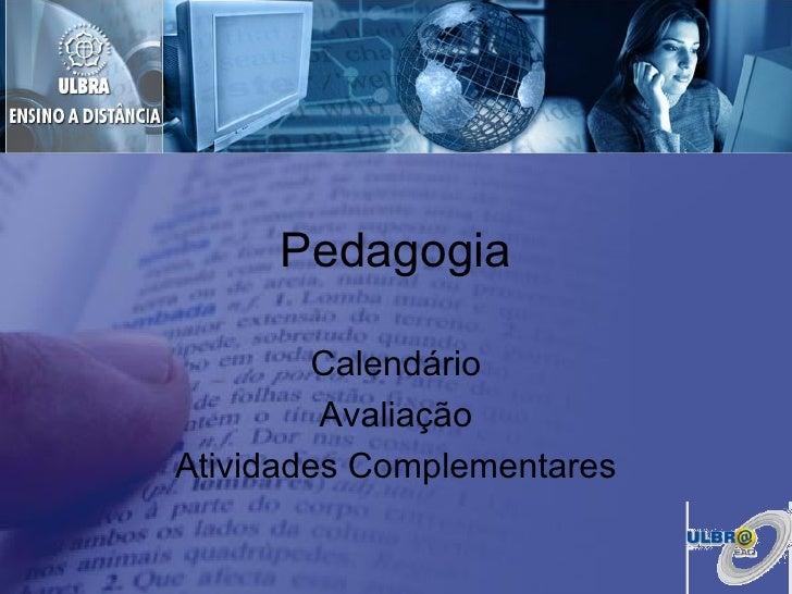 Pedagogia Calendário Avaliação Atividades Complementares