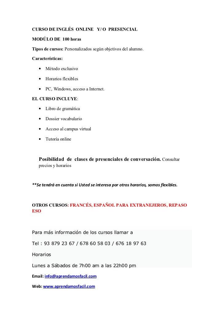 Curso de inglés  online   GRANOLLERS, BARCELONA