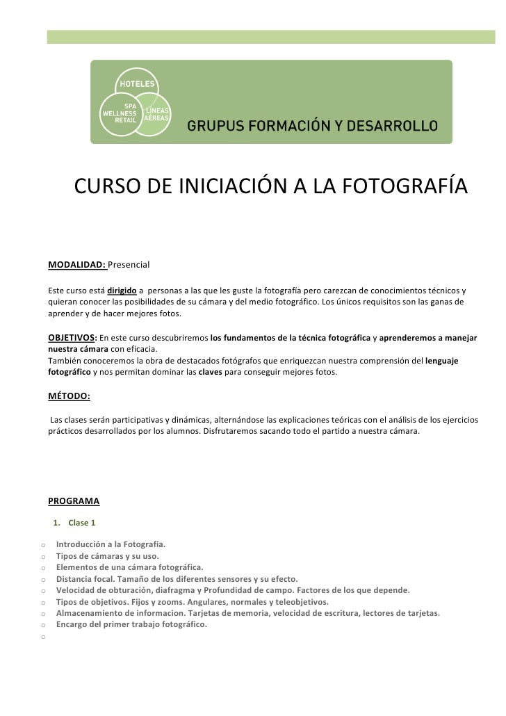 CURSO DE INICIACIÓN A LA FOTOGRAFÍA    MODALIDAD: Presencial    Este curso está dirigido a personas a las que les guste la...