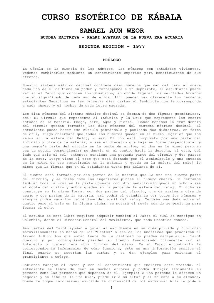 CURSO ESOTÉRICO DE KÁBALA                           SAMAEL AUN WEOR         BUDDHA MAITREYA - KALKI AVATARA DE LA NUEVA ER...