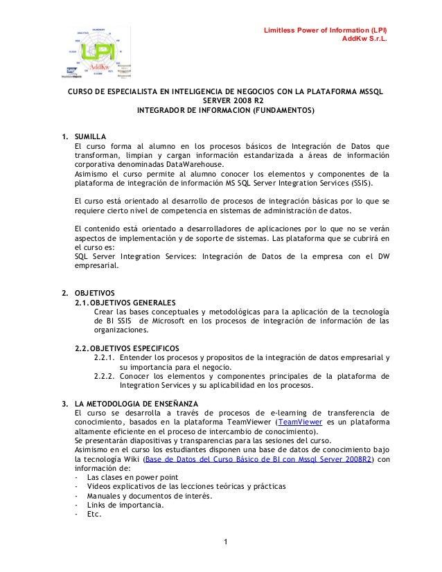 Limitless Power of Information (LPI) AddKw S.r.L.  CURSO DE ESPECIALISTA EN INTELIGENCIA DE NEGOCIOS CON LA PLATAFORMA MSS...