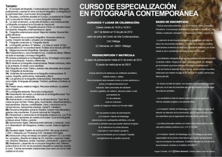 Curso especialización fotografia contemporanea cac málaga