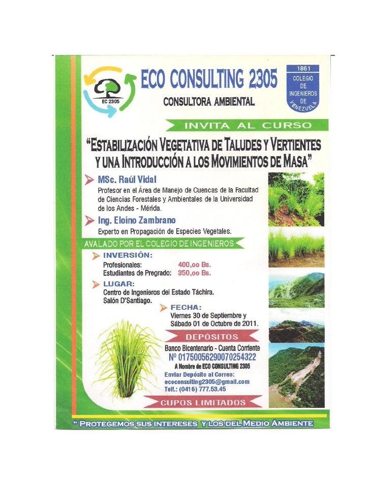 Curso estabilización vegetativa de taludes y vertientes y una introducción a los movimientos de masa