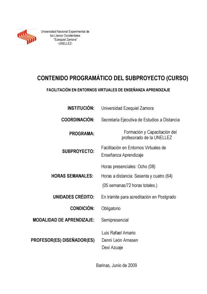"""Universidad Nacional Experimental de            los Llanos Occidentales               """"Ezequiel Zamora""""                   ..."""