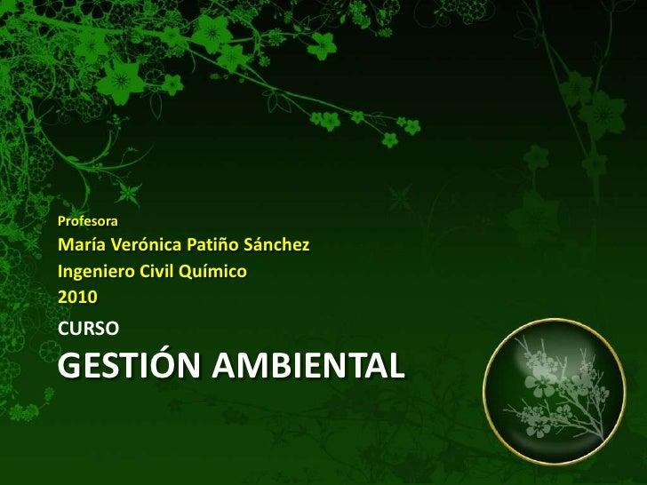 CursoGestión Ambiental<br />Profesora<br />María Verónica Patiño Sánchez<br />Ingeniero Civil Químico<br />2010<br />