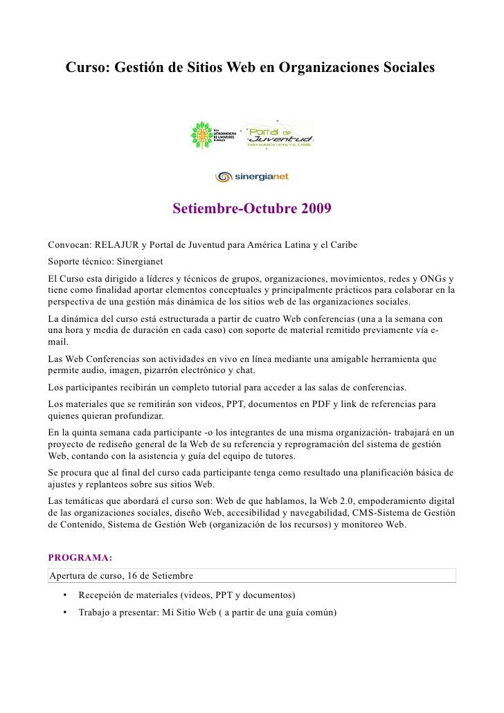 Curso: Gestión de Sitios Web en Organizaciones Sociales                                    Setiembre-Octubre 2009  Convoca...