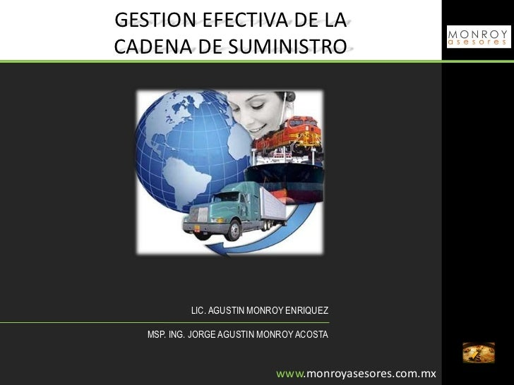 GESTION EFECTIVA DE LACADENA DE SUMINISTRO           LIC. AGUSTIN MONROY ENRIQUEZ   MSP. ING. JORGE AGUSTIN MONROY ACOSTA ...
