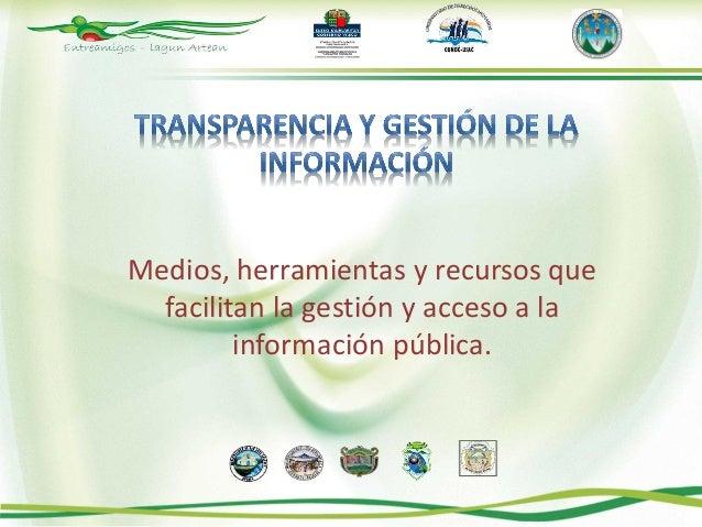 Medios, herramientas y recursos que  facilitan la gestión y acceso a la         información pública.
