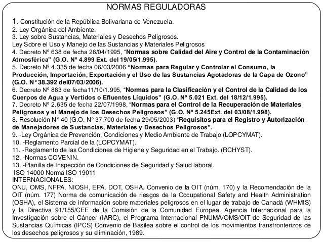 Marco Legal Materiales Peligrosos Venezuela