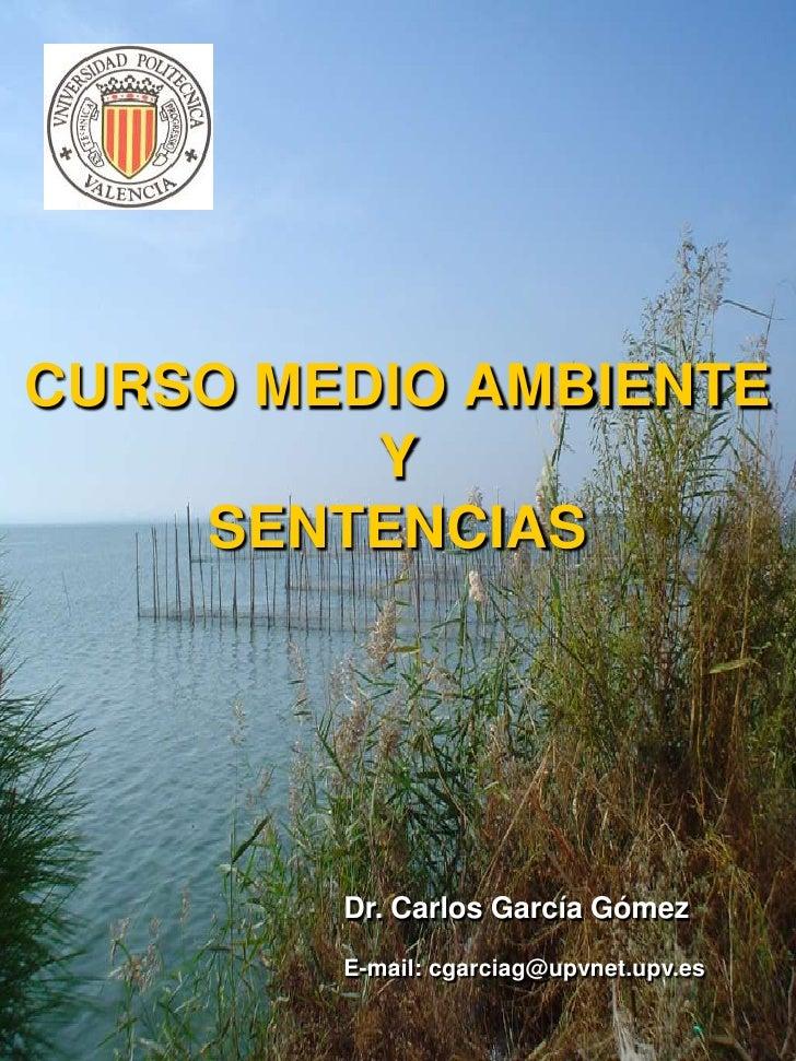 CURSO MEDIO AMBIENTEYSENTENCIAS<br />Dr. Carlos García Gómez<br />E-mail: cgarciag@upvnet.upv.es<br />