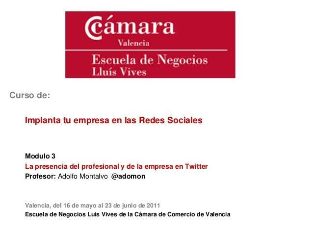 Curso de:Implanta tu empresa en las Redes SocialesModulo 3La presencia del profesional y de la empresa en TwitterProfesor:...