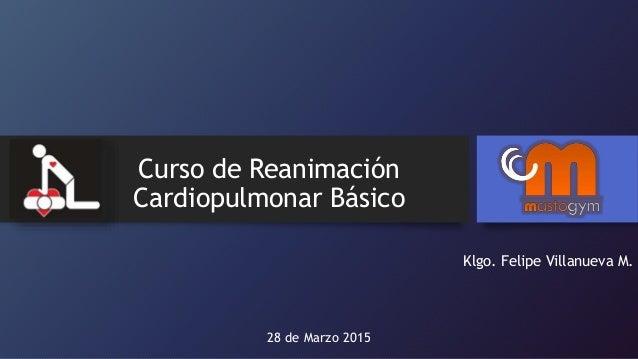Curso de Reanimación Cardiopulmonar Básico Klgo. Felipe Villanueva M. 28 de Marzo 2015