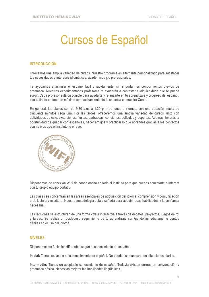 Cursos De Español Blibao Instituto Hemingway