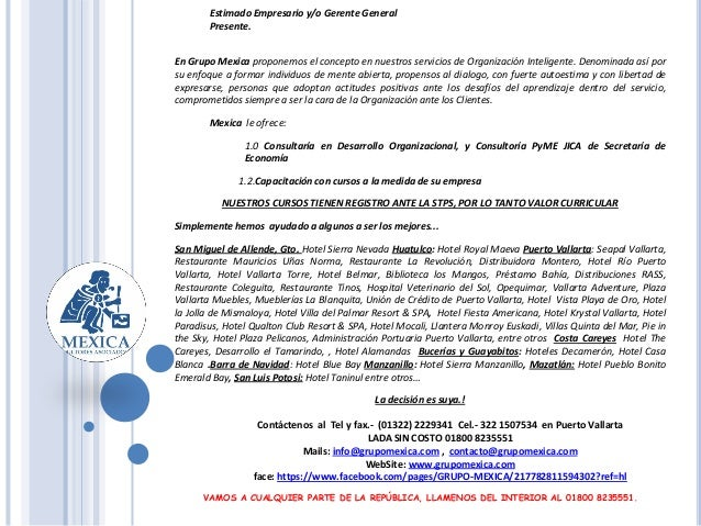VAMOS A CUALQUIER PARTE DE LA REPÚBLICA, LLAMENOS DEL INTERIOR AL 01800 8235551. Estimado Empresario y/o Gerente General P...