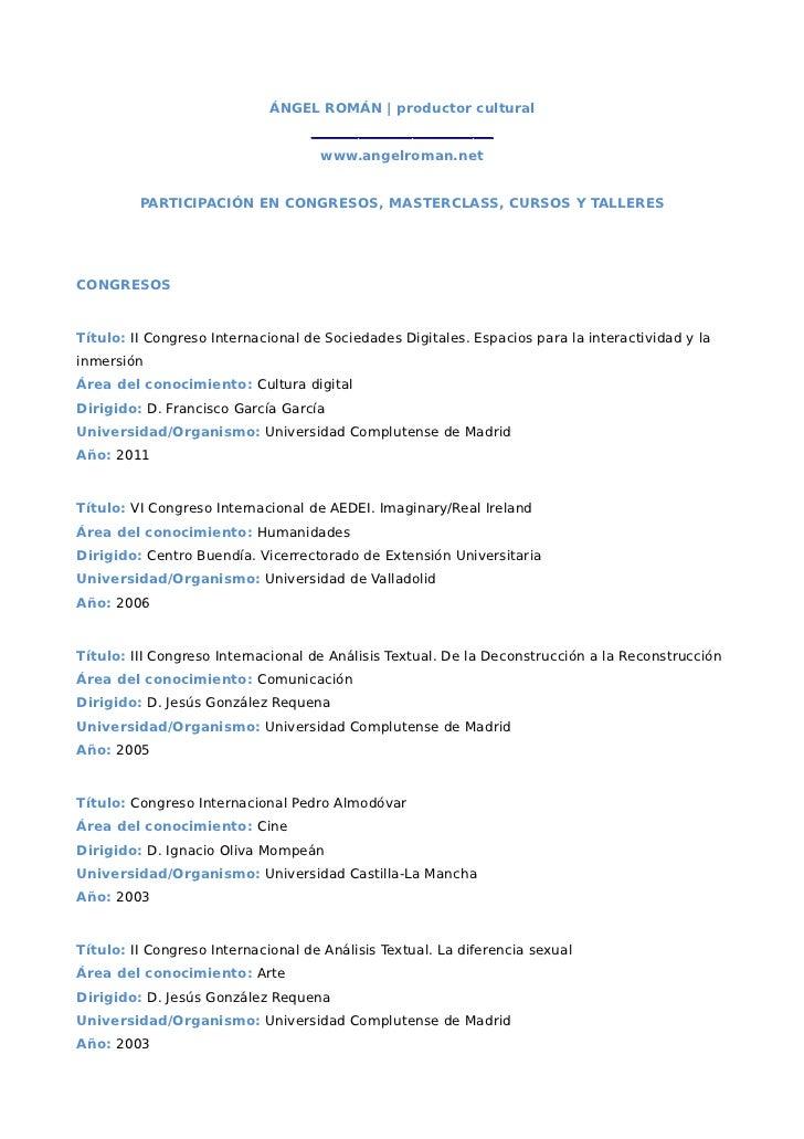 Participación en Cursos y Congresos