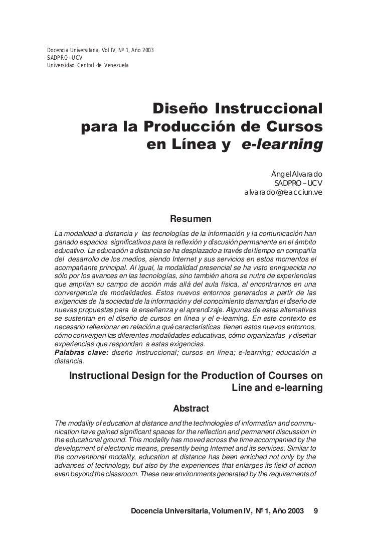 Diseño Instruccional para la Producción de Cursos en Línea y e-learningDocencia Universitaria, Vol IV, Nº 1, Año 2003SADPR...