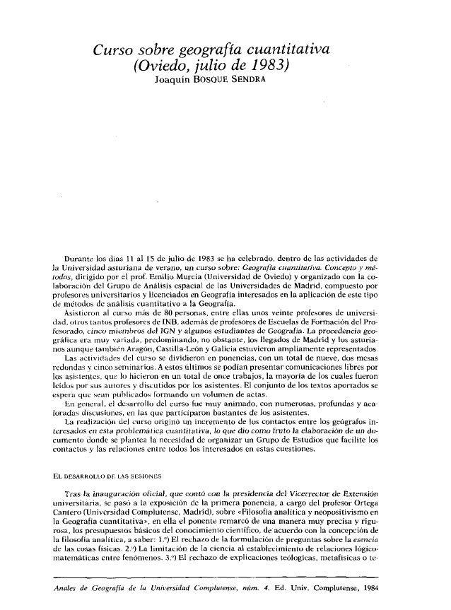 Resumen del Curso sobre Geografía Cuantitativa. Oviedo, julio 1983