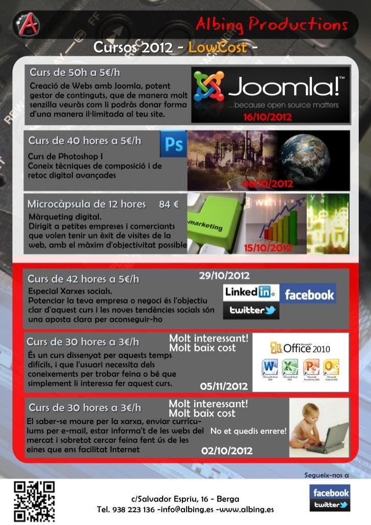 Cursos setembre 2012, Apunta´t als cursos low cost de Màrqueting digital, xarxes socials